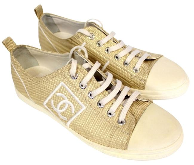 Item - Gold Metallic Rubber Sole Elegant Runway Model with Big Cc Logo Stitched Sneakers Size US 8