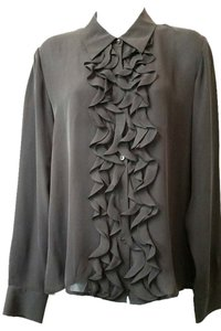 DKNY City Ruffles Black Silk Button Down Shirt