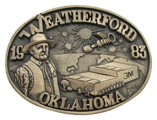 Weatherford VINTAGE 1983 WEATHERFORD Oklahoma USA 3M Plant BRASS Buckle Limited Edition ADM