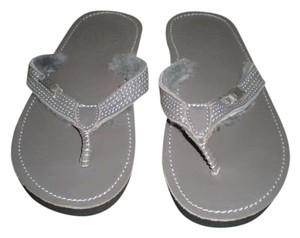 EMU Flip Flip Flops Grey Leather Sandals