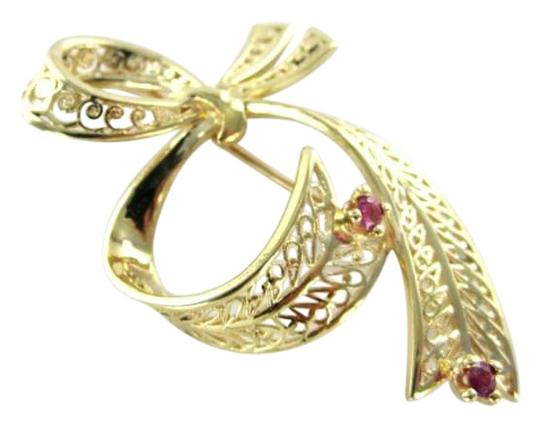 Other 14K YELLOW GOLD PIN BROOCH BOW RUBY RUBIES 3.9DWT HALLMARK ANTIQUE VINTAGE RETRO