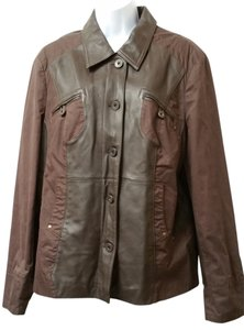 Paloma Blanca Brown Leather Cotton Jacket