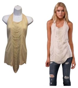 Haute Hippie Cream Halter Top