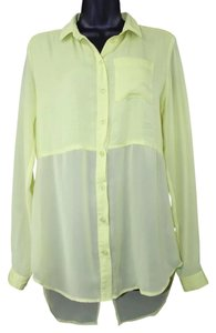 Free People Chartreuse Button Down Shirt