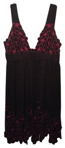 Catherine Malandrino short dress Black and hot pink floral embroidery on Tradesy