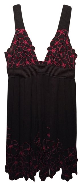 Preload https://item3.tradesy.com/images/catherine-malandrino-dress-black-and-hot-pink-floral-embroidery-3467962-0-0.jpg?width=400&height=650