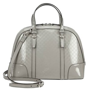 Gucci Nice Patent Patent Leather Top Handle Crossbody Satchel in Shadow Grey