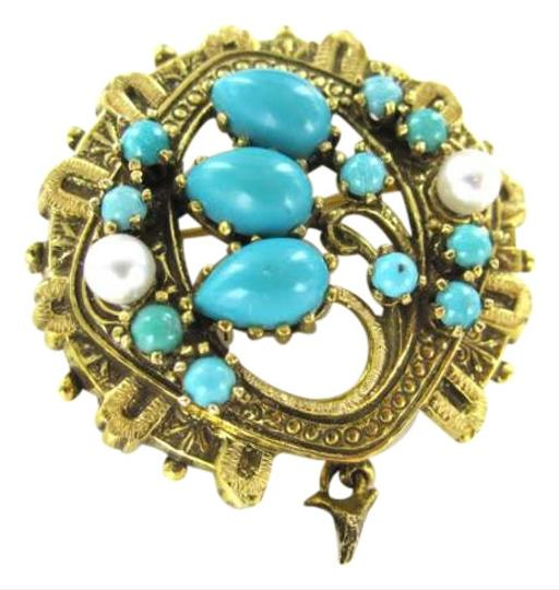 Preload https://img-static.tradesy.com/item/346819/gold-14kt-yellow-pin-brooch-76dwt-vintage-turquoise-pearl-pendant-victorian-0-0-540-540.jpg