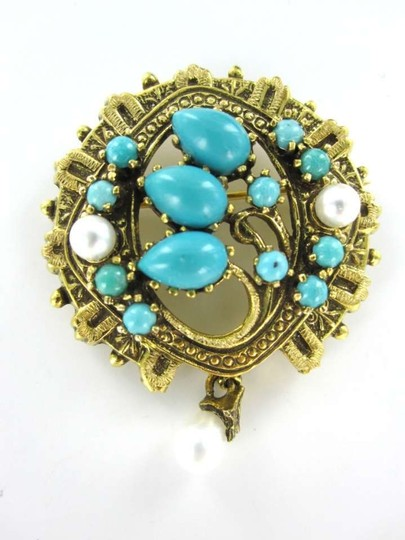 Other 14KT YELLOW GOLD PIN BROOCH 7.6DWT VINTAGE TURQUOISE PEARL PENDANT VICTORIAN