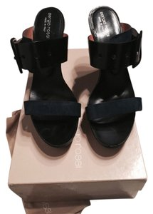 Sergio Rossi Suede Leather Buckle Navy Platforms