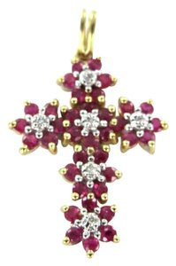 Other 10KT YELLOW GOLD PENDANT CHARM RUBY DIAMOND CROSS RELIGIOUS FAITH CHRISTIAN