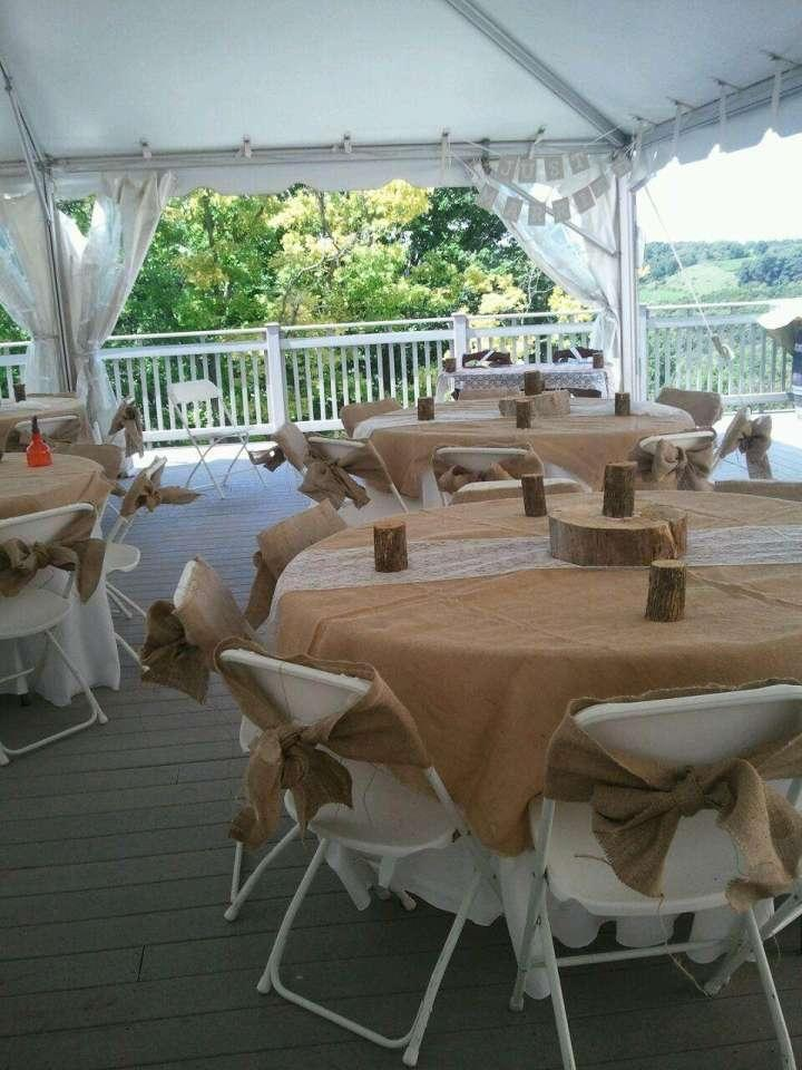 Burlap lace rustic sashes runners and more tablecloth for Rustic and more
