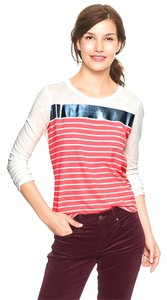 Gap Foil 100% Cotton Sparkle Striped Metallic T Shirt Pink Stripes