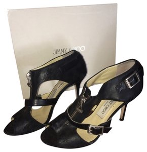 Jimmy Choo Waxed Brushed Suede Black Sandals