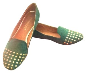Shoedazzle Studded Gold Loafers Green Flats