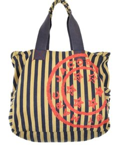 Marc by Marc Jacobs Summer Striped Canvas Tote Satchel Monogram Multi Beach Bag