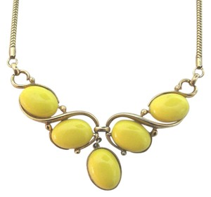 Trifari Vintage Trifari Cascade Necklace Yellow Lucite Stone Beads Gold Choker Costume