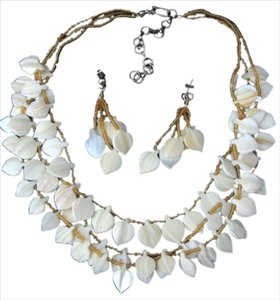 Mother of Pearl Leaf Multi Strand Bead Necklace Set Dangle Earrings Costume