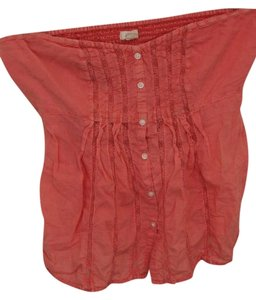 Aerie Bra Shelf Lace Buttons Top Pink