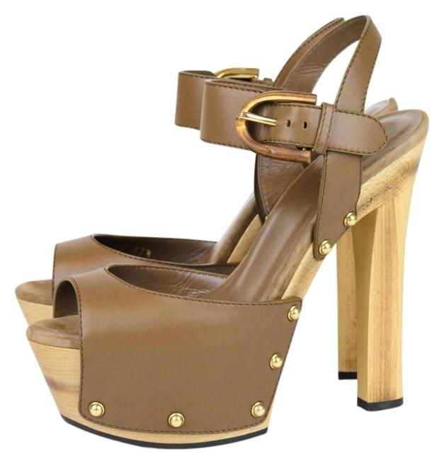 Item - Brown Leather Clog Sandal with Bamboo Buckle Platforms Size US 10 Regular (M, B)