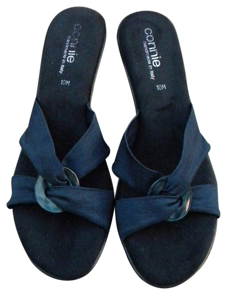 3b7391e1d2e Connie Navy Blue New Italian Slides with Buckle Italy Wedges Size US ...