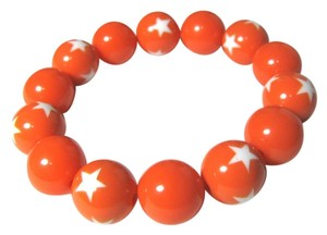 Other Handmade orange bead bracelet with white star estretch