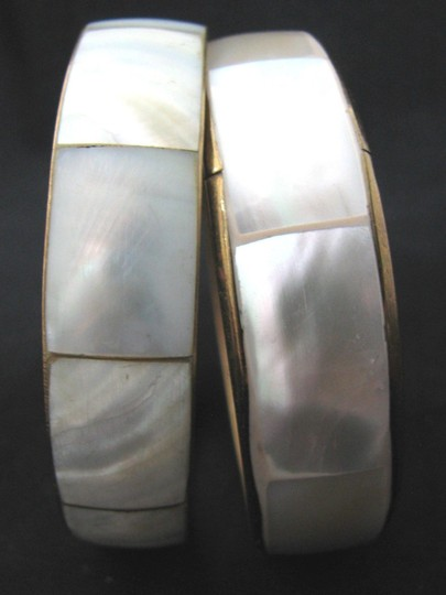 Vintage Vintage Mother of Pearl inlay brass cuff bracelets Set of 2