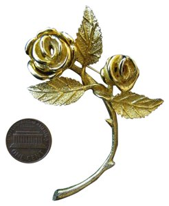 House of Schrager House of Schrager Gold Plated Rose Brooch Quality Piece 1950s Costume Large 3
