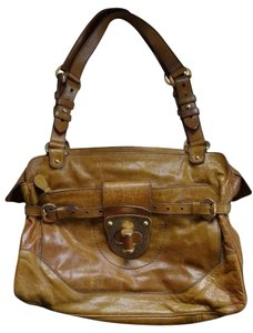 Alexander McQueen Shoulder Distressed Satchel in Camel