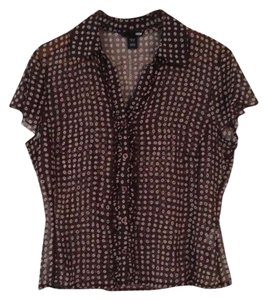 H&M Polk-a-dot Ruffled Top Brown
