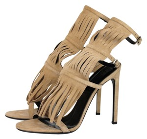 Gucci Suede Fringed Becky Gladiator Tan Sandals