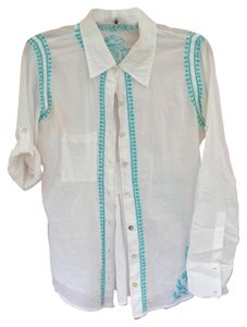 Subtle Luxury Button Down Shirt White with Turquoise
