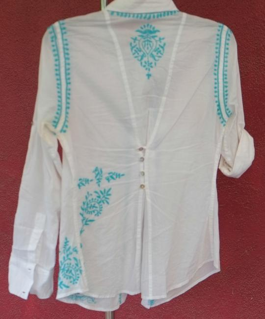 Subtle Luxury Classic Boho Button Down Shirt White with Turquoise
