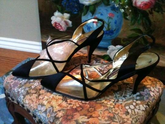 Walter Steiger Hand Made In Italy Black Satin Formal