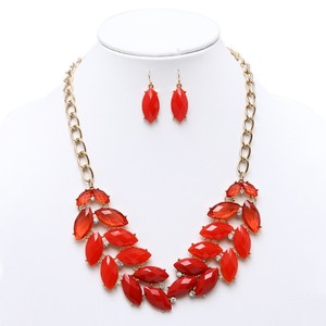 Mariell Shimmering Orangy-red Leaves Statement Necklace & Earrings Set 4324s-re-g