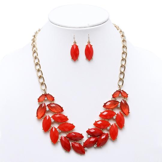 Mariell Red Shimmering Orangy-red Leaves Statement Earrings Set 4324s-re-g Necklace
