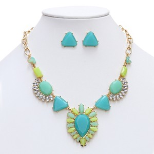 Mariell Turquoise-green Multi Art Deco Statement Necklace 4325s-tq-g