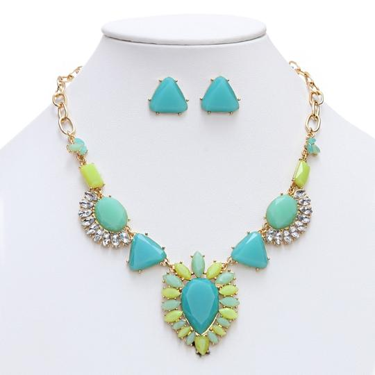 Mariell Turquoise/Green/Multi Art Deco Statement 4325s-tq-g Necklace