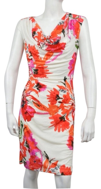 Item - White Multicolor Womens Off Floral Print Sheath Above Knee Cocktail Dress Size 10 (M)