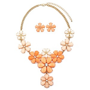 Mariell Tangerine Peach Flower Power Statement Necklace Set 4335s-tg-g