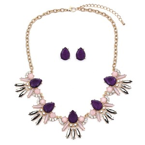 Mariell Glittery Purple & Pink Opal Deco Statement Necklace Set 4336s-am-g