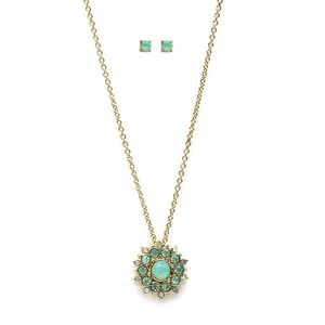 Mariell Mint Opal Sunburst Pendant Stud Earrings Set 4297s-mnt-g Necklace