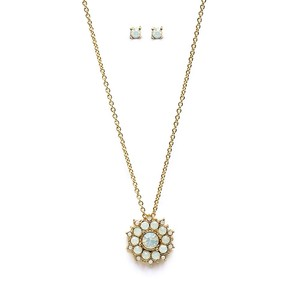 Mariell Opal And Gold Sunburst Pendant & Stud Earrings Set For Bridal And Prom 4297s-op-g