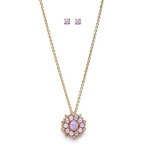 Mariell Pink Opal Sunburst Pendant Stud Earrings Set For Bridemaids and Prom Necklace