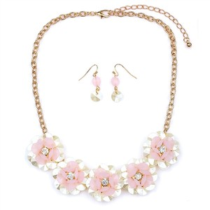 Mariell Pearlized Pink Flower Necklace Set For Weddings Or Prom 4332s-pk-g