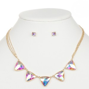 Mariell Iridescent Ab Triangles Gold Necklace And Earrings Set 4355s-ab-g