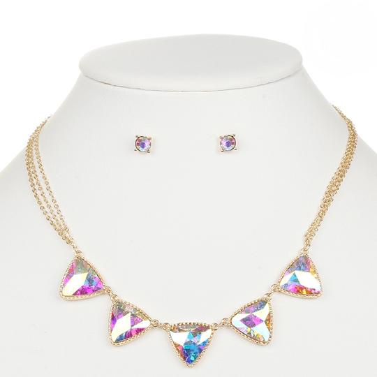 Mariell Gold Iridescent Ab Triangles and Earrings Set 4355s-ab-g Necklace