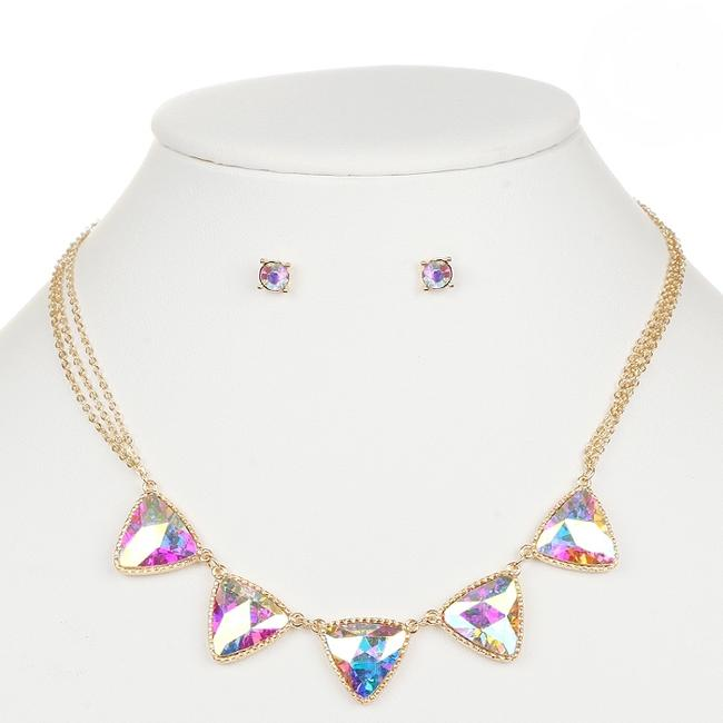 Item - Gold Iridescent Ab Triangles and Earrings Set 4355s-ab-g Necklace