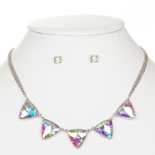 Mariell Iridescent Triangles Necklace Set For Prom Or Bridesmaids 4355s-ab-s