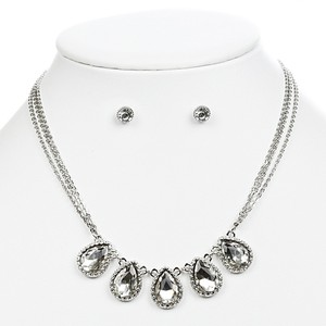 Mariell Silver Textured Frame Teardrops 4364s-s Necklace